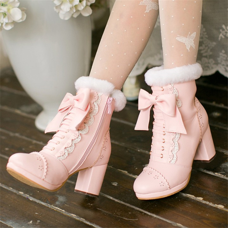 Sweet Japanese Beauty Women Ankle Boots Winter New Lace Bow Snow Boots For Women Lace Up Platform Thick High Heels Lolita shoes (15)