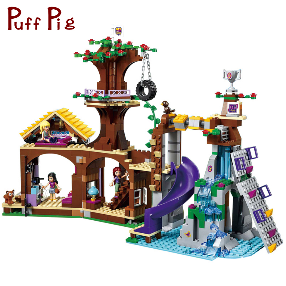 875PCS Friends Series Adventure Camp Tree House Model Building Blocks Compatible legoed Friends Figures Toys For Children Girls [hot] 875pcs legoings adventure camp tree house model building blocks gifts toy compatible legoingly friends toys for children