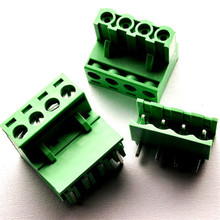10 sets 5.08 4pin Right angle Terminal plug type 300V 10A 5.08mm pitch connector pcb screw terminal block Free shipping