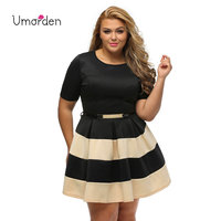 Fashion Casual Loose Plus Size XXXL Women Summer Dress Belt Stripe Patchwork Short Mini Dresses Vestidos