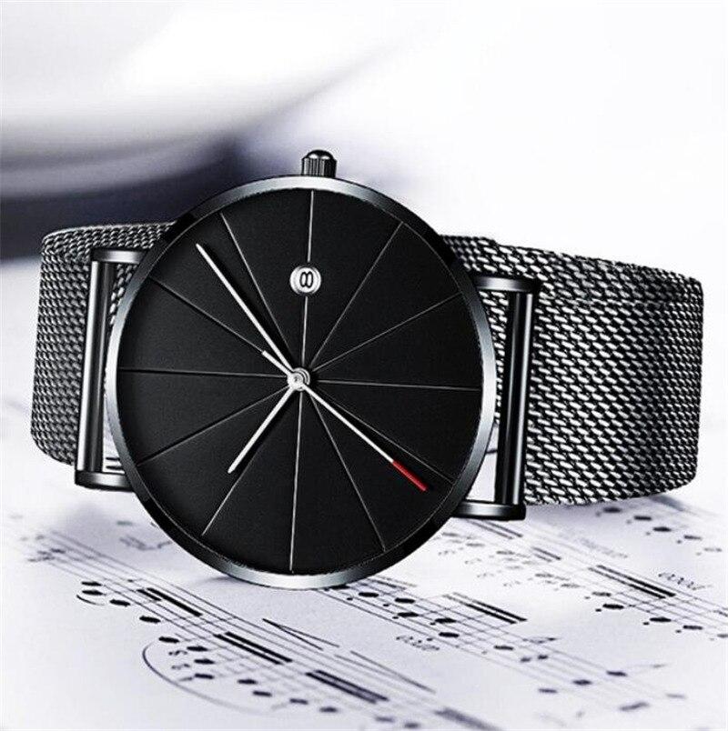 Men Steel Mesh Belt Fashion Watch Monte Homme Calendar Clock CLOVER JEWELLERY