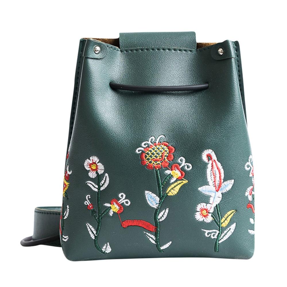 Bucket-Bag Handbag Messenger-Bag Embroidery Flowers Vintage Crossbody Women Ladies PU