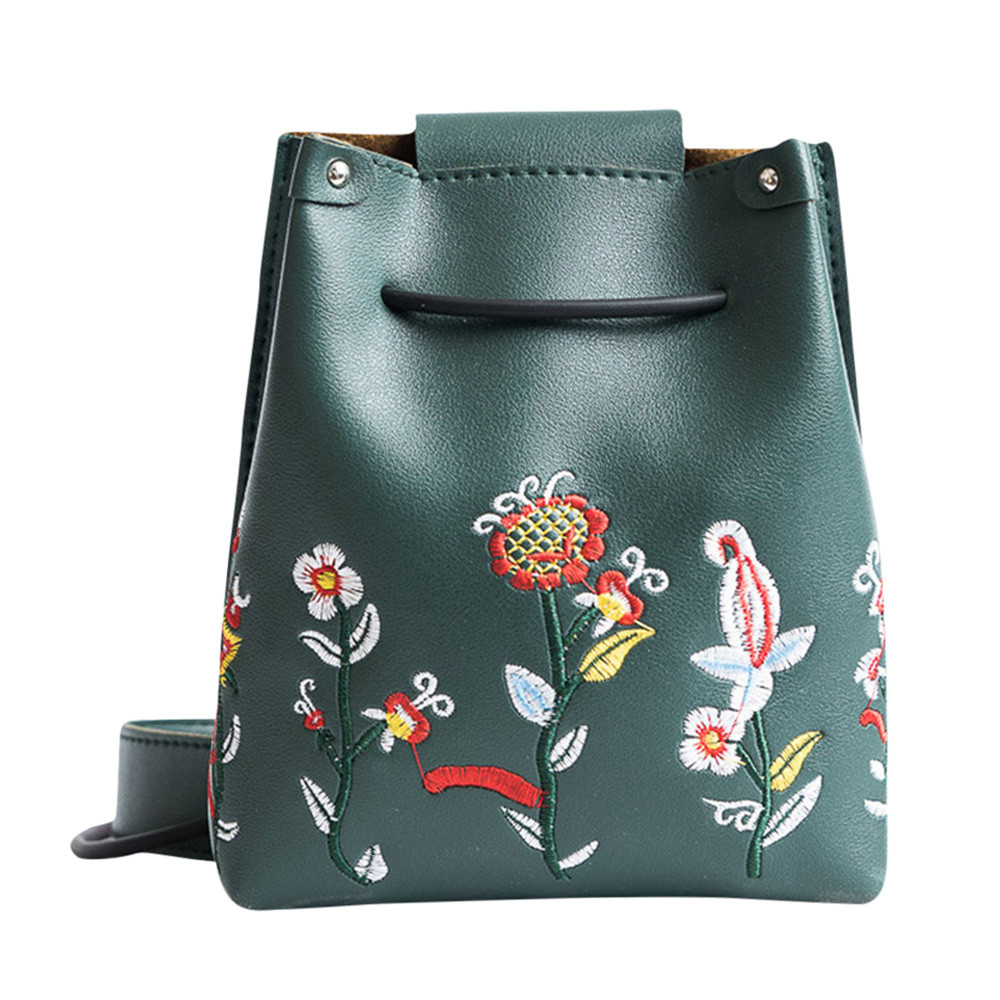 2019 Fashion Handbag Bucket Bag Women Flowers Embroidery PU Leather Shoulder Bags Ladies Vintage Crossbody Messenger Bag
