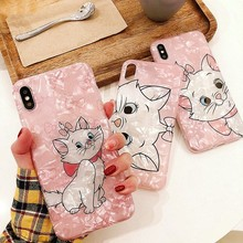 Conch Shell Marble Phone Case For iphone 7 XS MAX XR X 6 6S 8 Plus Cute Marie Cat Texture Soft IMD Back Cover