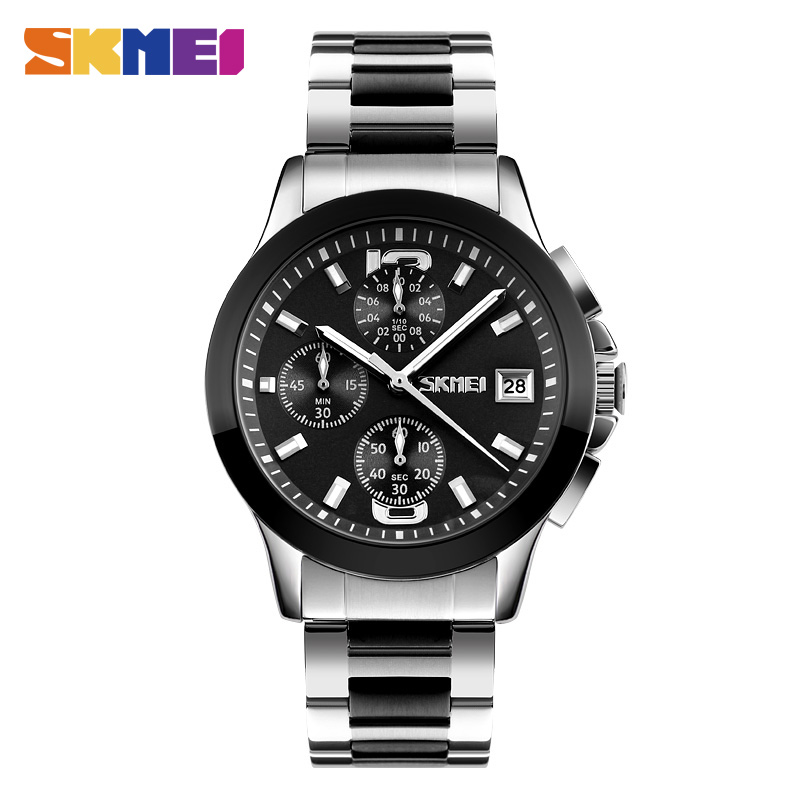 Luxury Brand SKMEI Men Fashion Business Quartz Watches 30M Waterproof Watch Casual Six-pin Wristwatches Relogio Masculino 9126 skmei lovers quartz watches luxury men women fashion casual watch 30m waterproof simple ultra thin design wristwatches 1181