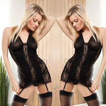 Sex Clothes Women Lingerie Black Lace Babydoll Garter Sexy Nightie free shipping Z254