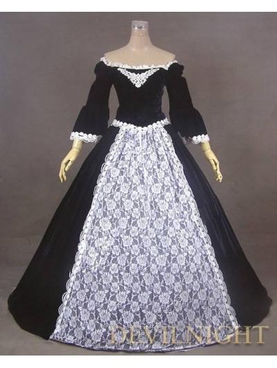 Black Off-the-Shoulder Velvet Lace Victorian Ball Gowns Victorian Dresses Black
