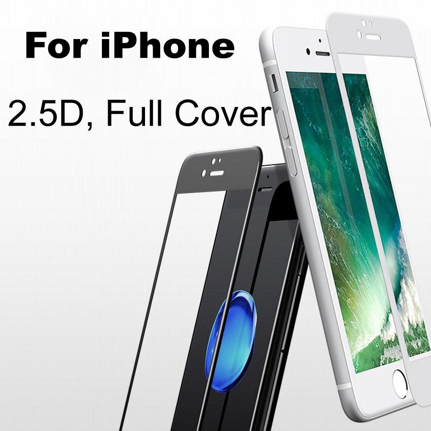 9H 2.5D Full Cover Tempered Glass For iPhone X 8 7 6s Plus 5 <font><b>5s</b></font> <font><b>SE</b></font> Screen Protector For iPhone 7 Glass For iPhone 6 s Glass