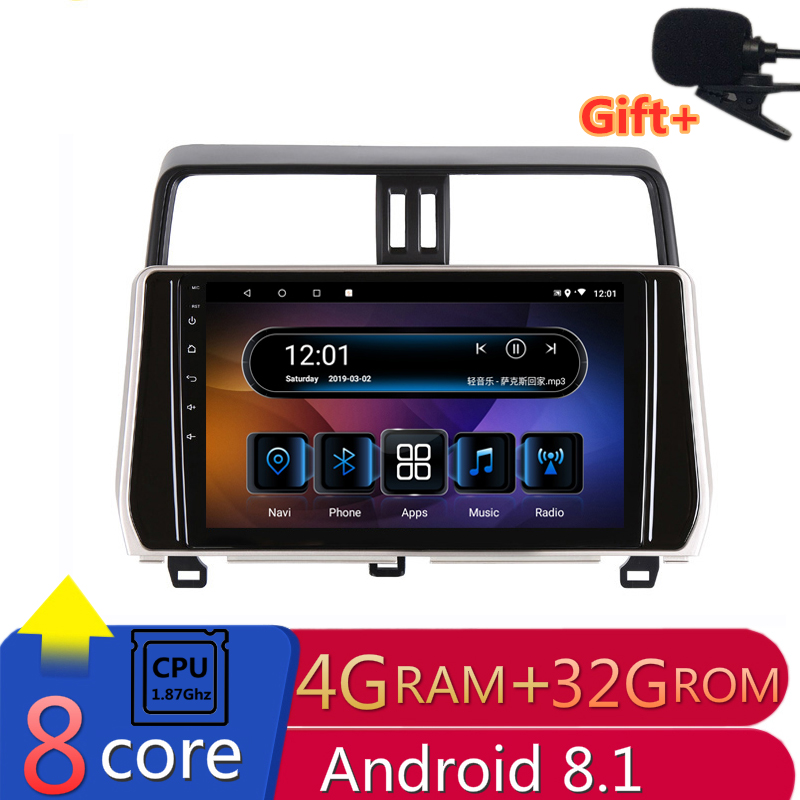 "10.1"" 4G RAM 8 cores Android Car DVD GPS Navigation For Toyota Prado 2018 audio stereo car radio headunit bluetooth wifi"
