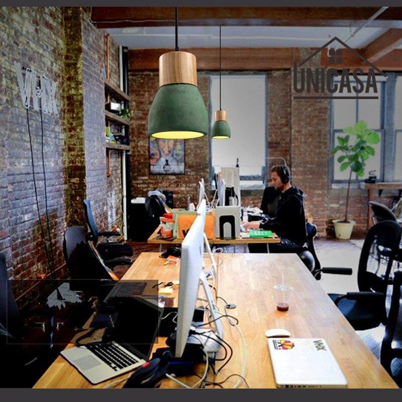 Vintage Green Cement Shade Pendant Light Industrial Chandelier Lighting Wood LED Modern Ceiling Lights Mini Lamp