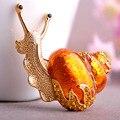 Эмаль Orange Улитки Броши Австрийский хрусталь Античная Позолоченный Насекомых Брошь Бижутерия Женщины Старинные Броши Хиджаб Булавки