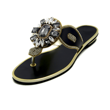 Womens Flat Sandals Summer 2016 Flip Flops Slippers Women Sandal Women New Style Comfort Black Crystal Sandals Large Size Shoes