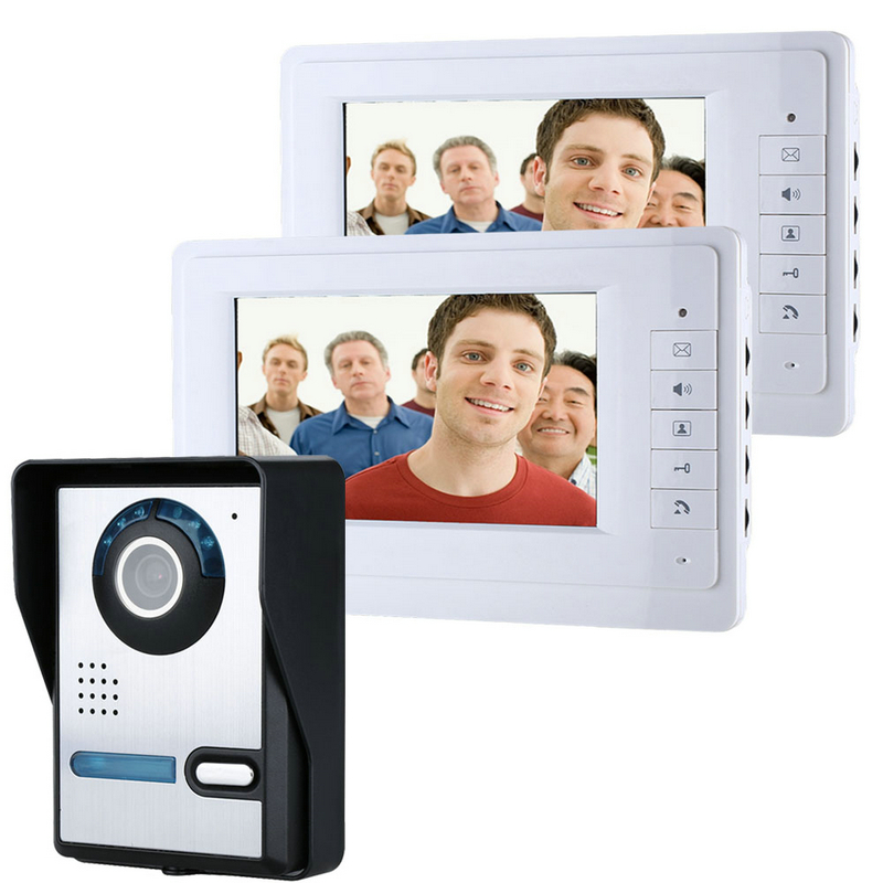 Free shipping 7'' wired color video door phone Intercom system video doorbell kit IR 1 outdoor camera +2 monitor 819FA12 free shipping 7 wired video door phone access control doorbell intercom system kit 2 camera 1 monitor ir night vision 817mkw21