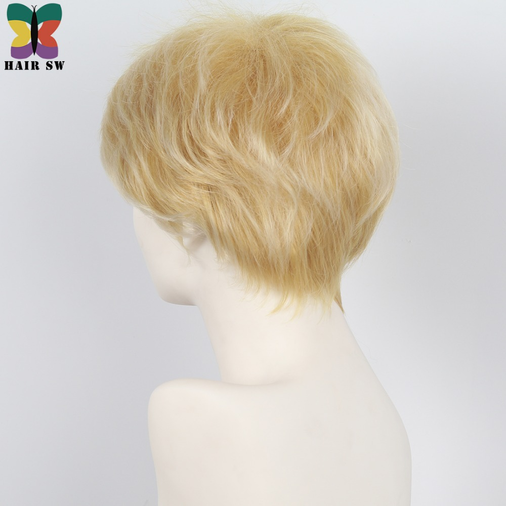 HAIR SW Short Straight Synthetic Hair Ladies wig Honey Blonde Fluffy Layered Pixie Angle Cut wig with bangs For women