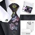 B-432 Mens Dimgray Floral de Seda Corbata Corbata Hanky Gemelos Caja de Regalo Establece Bolsa De Banquete de Boda de Negocios Corbata Para Los Hombres