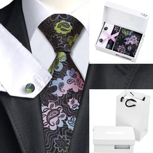 B-432 Mens Tie Dimgray Floral Silk Necktie Hanky Cufflinks Gift Box Bag Sets Business Wedding Party Tie For Men