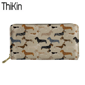Thikin Long Wallets for Credit Card Women Doxie Dachshund Printing PU Leather Phone Purse Ladies Clutch Money Bags Carteira(China)