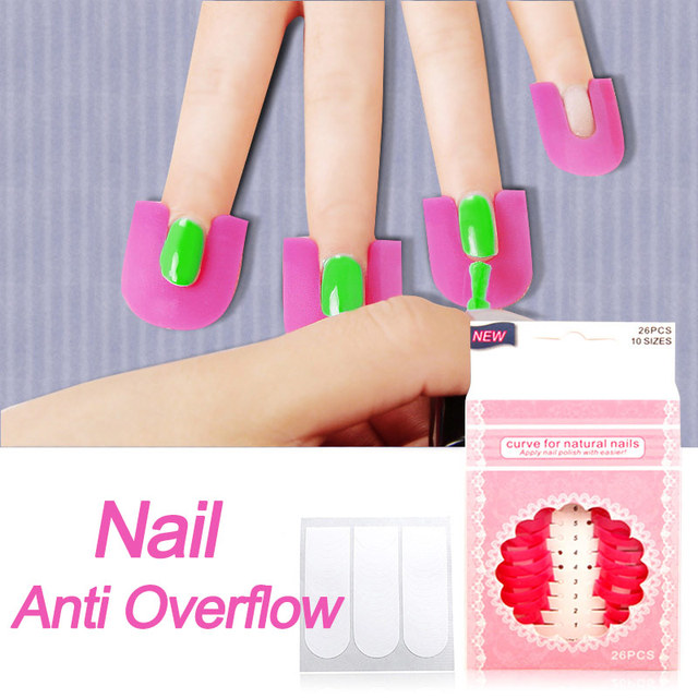 26pcs/bag Nail Art Tools Nail Art Guide Form Tip Gel Anti Overflow ...