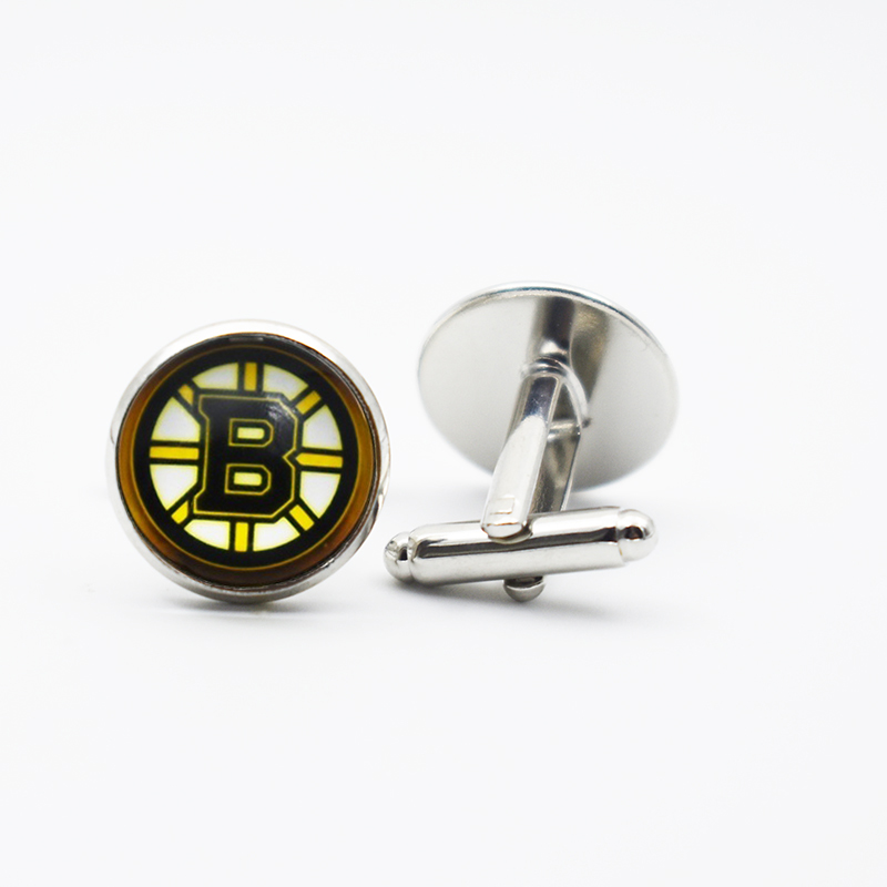 16MM Hockey Boston Bruins Jewelry Cufflinks Metal Alloy Sports Team Glass Cufflinks Jewelry