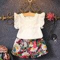O bebê caçoa a cabeça meninas t-shirt calças curtas dress verão roupas conjuntos