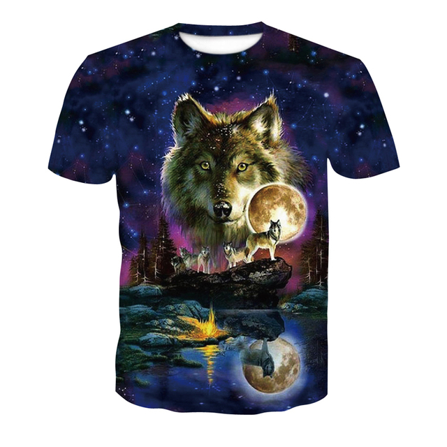 66f4da63c 2018 new skull 3D T Shirt Summer Mens Fashion Tops Male Print harajuku wolf  Men Women