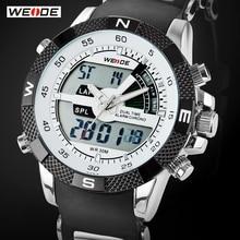 Vente chaude WEIDE Marque De Luxe Hommes Montre de Sport 3ATM Étanche Multifonction Quartz Numérique Rétro-Éclairage LED Militaire Montres