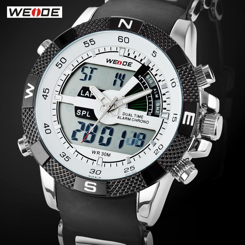 Prix pour Vente chaude weide marque de luxe hommes montre de sport 3atm étanche multifonction quartz numérique rétro-éclairage led militaire montres