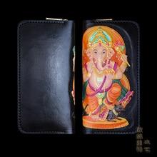 OLG.YAT long zipper wallet mens purse Vegetable tanned leather handmade wallet women bag retro men handbag Elephant Ganesh pure