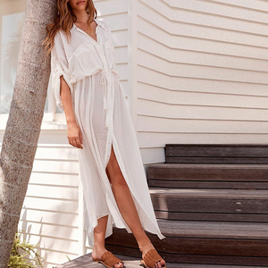 Image 4 - Peachtan White beach cover up dress Tunic long pareos bikinis Cover ups swimsuit Cover up Beachwear T shirts for women 2019 new