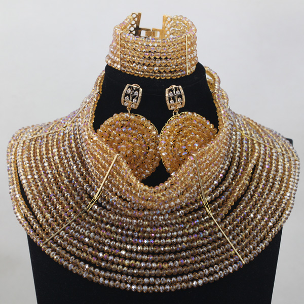 Champagne Jewelry 18 Layers Nigerian Wedding African Crystal Beads Necklace Bracelet Earrings Jewelry Set Free ShippingABH032 fashion white crystal beads necklace earrings bracelet nigerian wedding beads african jewelry set for women ddk014