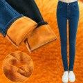 LinsDenim Mujer de Terciopelo Grueso Jeans Warm Winter Stretch Flacos Elásticos Denim Pantalones Vaqueros de Cintura Alta Femeninos Lápiz Pantalones Para Las Mujeres