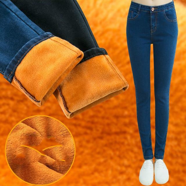 LinsDenim Woman Thick Velvet Warm Jeans Winter Elastic Skinny Denim Pants High Waist Jeans Female Stretch Pencil Pants For Women