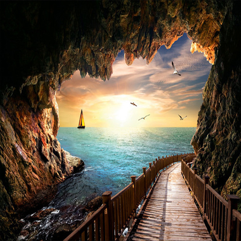 Custom Mural Wallpaper Wall Covering Cave Sea View Sunset Landscape