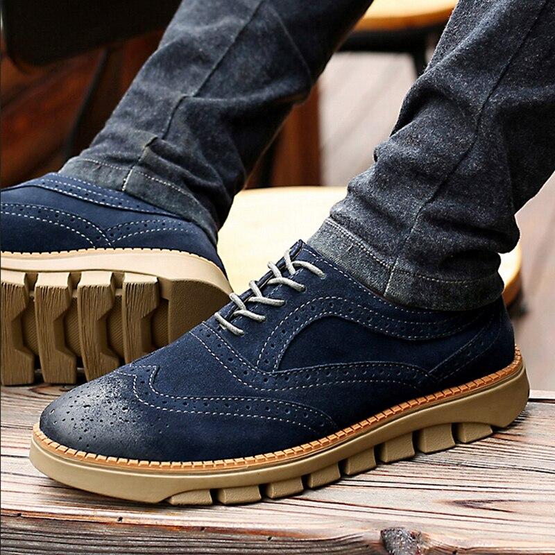 En forme Navy Brown Talon Quotidien Bout Chaussures Cuir Rond Oxford Suédé Sculptés De Épais Blue Mode Richelieu khaki Brockden Hommes Plate light Véritable qXx8SF