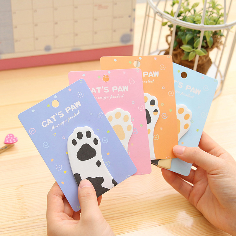 1Pcs Cute Cat Memo Pad Cartoon Message Creative Stickers 30Pages Kawaii Diy Stationery Sticky Notes Planner