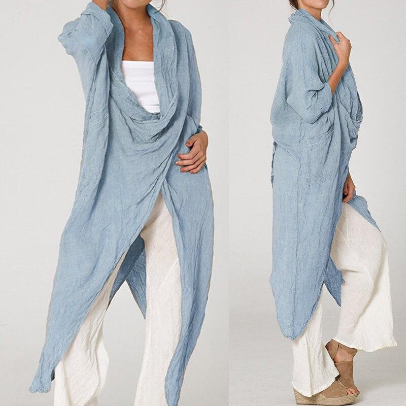 Vintage Women Tops Blouse Celmia 2020 Fashion Long Shirt Casual Cowl Neck Long Sleeve Loose Asymmetric Plus Size Blusas Feminina