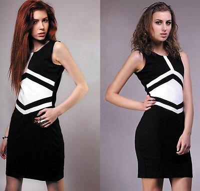 Новые летние женские Повседневное Платья для женщин черный с белым Цвет блок одежда без рукавов