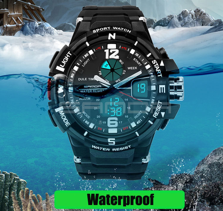 SANDA Fashion Watch Men Waterproof LED Sports Military Watch Shock Resistant Men's Analog Quartz Digital Watch relogio masculino sanda fashion watch men g style waterproof led digital sports military shock men s analog quartz wristwatch relojes hombre