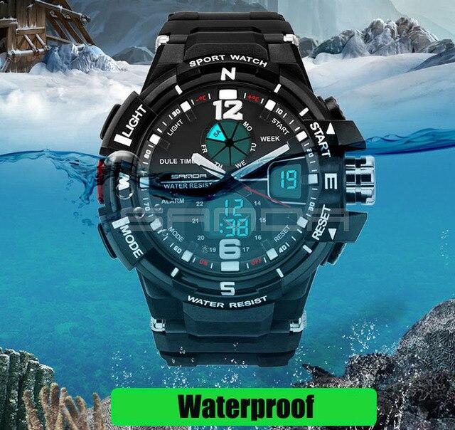 930611150 SANDA Fashion Watch Men Waterproof LED Sports Military Watch Shock Resistant  Men's Analog Quartz Digital Watch