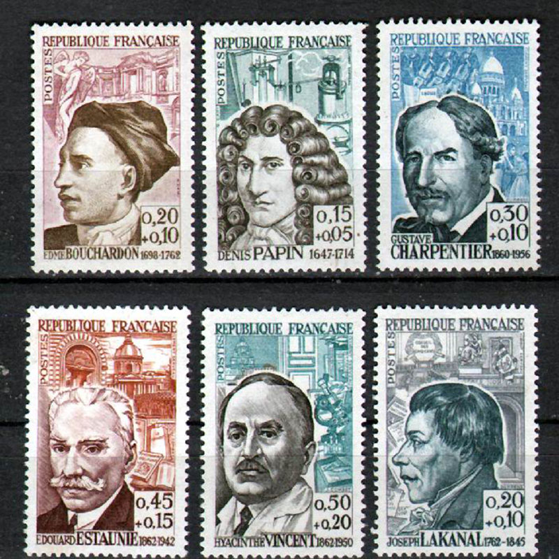 (6 Pieces/set) France Postage old stamps 1962 scientist musician writer and so on