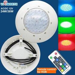 Ip68 Светодиодный светильник для бассейна 24 Вт 36 Вт, светодиодный водонепроницаемый подводный светильник 12 В переменного/постоянного тока, с...