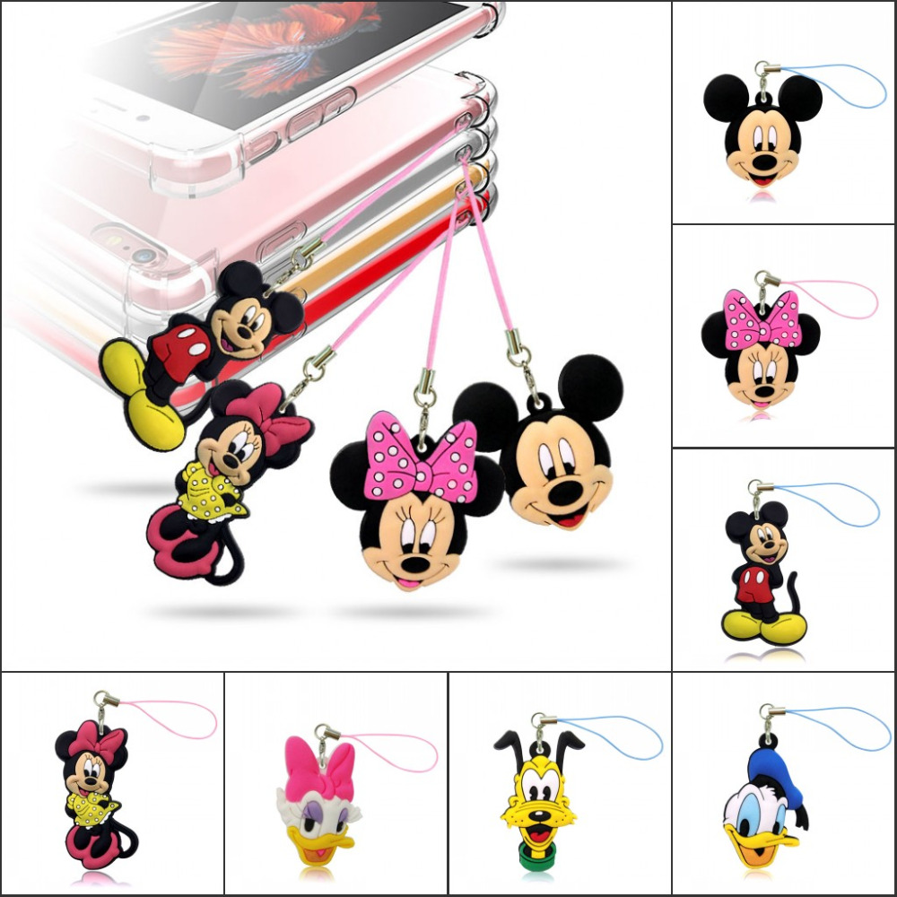 Free Shipping 1PCS Lovely Mickey Minnie 2D PVC Mobile Phone Hanging Strap Pendant Ornament With Hanging Strap Bags Accessories
