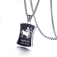 Fashion 12 Constellation Pendant Necklace for Men Women Style Stainless Steel Square Round Popcorn Chain Necklace Punk Jewelry(China)