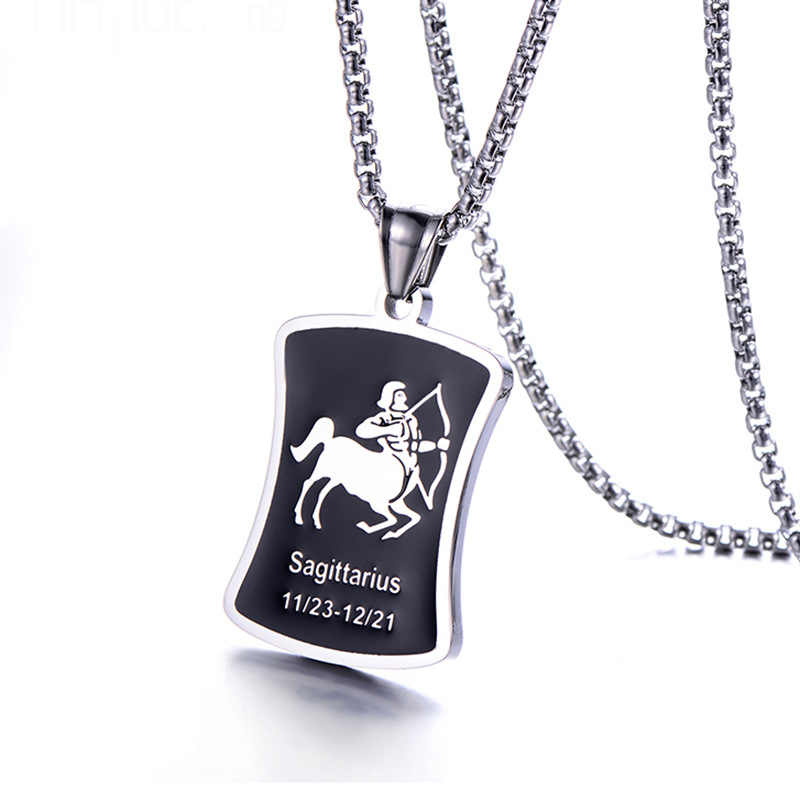Fashion 12 Constellation Pendant Necklace for Men Women Style Stainless Steel Square Round Popcorn Chain Necklace Punk Jewelry