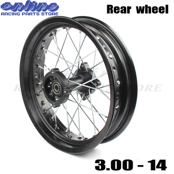 """14"""" Inch Rear Wheels 3.00-14  Alloy Rim For KAYO BSE Apollo Xmotos Racing Supermoto Dirt Pit bike Off Road"""