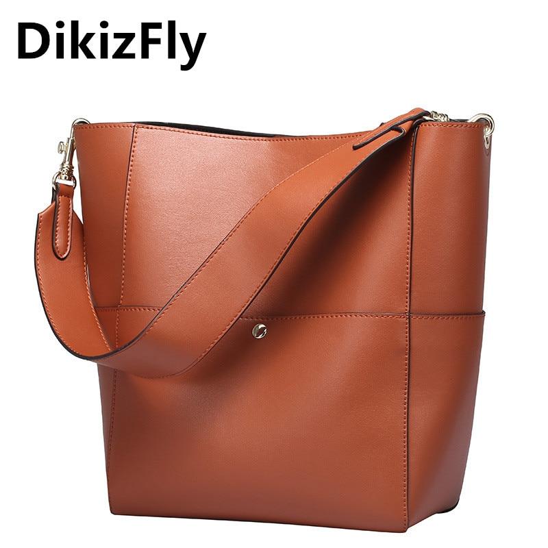 DikizFly Brand Women real Leather Handbag Luxury Shoulder Bag Women s Bags Female Bag Fashion Bucket