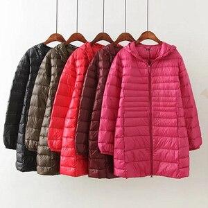 Image 2 - 새로운 가을 겨울 플러스 크기 6xl 다운 재킷 여성 울트라 라이트 화이트 오리 코트 파커 긴 슬림 후드 여성 outwear rh1340
