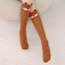 Милые детские гольфы с рисунком для маленьких девочек, колготки гетры, чулки модные длинные хлопковые носки с изображением лисы и медведя