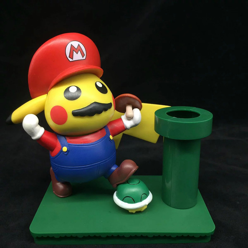 18cm Pikachu Cosplay Mario Super Mario Brush Pot PVC Action Figure Collection Model Toy Doll Gift Brinquedos