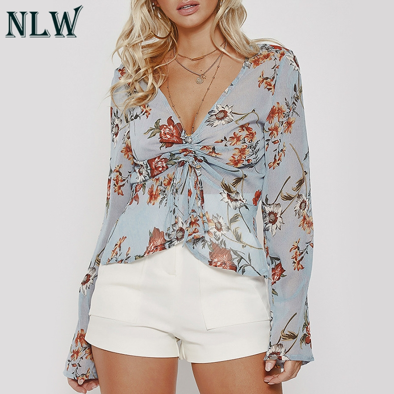 NLW Autumn Winter 2018 Chiffon   Blouse   Women Floral Lace Up Crop Short   Blouses     Shirt   Casual Sexy Transparent Feminino Blusa Top